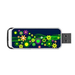 Flower Power Flowers Ornament Portable Usb Flash (two Sides) by Onesevenart