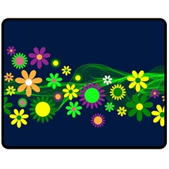 Flower Power Flowers Ornament Double Sided Fleece Blanket (medium)  by Onesevenart