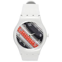 Bed Linen Microfibre Pattern Round Plastic Sport Watch (m) by Onesevenart