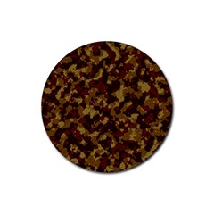 Camouflage Tarn Forest Texture Rubber Coaster (round)  by Onesevenart