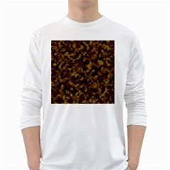 Camouflage Tarn Forest Texture White Long Sleeve T Shirts by Onesevenart