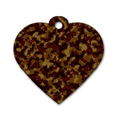 Camouflage Tarn Forest Texture Dog Tag Heart (two Sides) by Onesevenart
