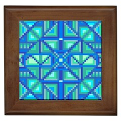 Grid Geometric Pattern Colorful Framed Tiles by Onesevenart