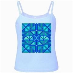 Grid Geometric Pattern Colorful Baby Blue Spaghetti Tank by Onesevenart
