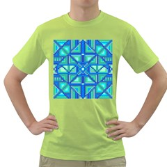 Grid Geometric Pattern Colorful Green T Shirt by Onesevenart