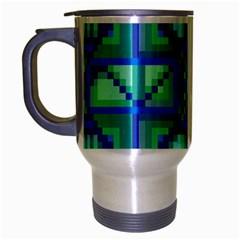 Grid Geometric Pattern Colorful Travel Mug (silver Gray) by Onesevenart