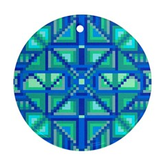 Grid Geometric Pattern Colorful Round Ornament (two Sides) by Onesevenart