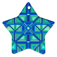 Grid Geometric Pattern Colorful Star Ornament (two Sides) by Onesevenart