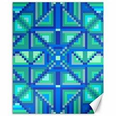 Grid Geometric Pattern Colorful Canvas 11  X 14   by Onesevenart