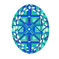 Grid Geometric Pattern Colorful Oval Filigree Ornament (two Sides) by Onesevenart
