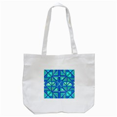Grid Geometric Pattern Colorful Tote Bag (white) by Onesevenart