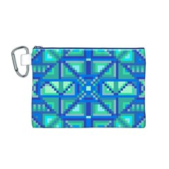 Grid Geometric Pattern Colorful Canvas Cosmetic Bag (m) by Onesevenart