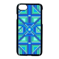 Grid Geometric Pattern Colorful Apple Iphone 7 Seamless Case (black) by Onesevenart