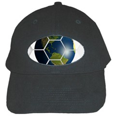 Hexagon Diamond Earth Globe Black Cap by Onesevenart