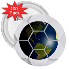 Hexagon Diamond Earth Globe 3  Buttons (100 Pack)  by Onesevenart