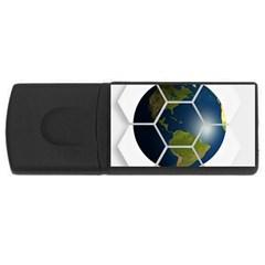 Hexagon Diamond Earth Globe USB Flash Drive Rectangular (1 GB) by Onesevenart