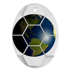 Hexagon Diamond Earth Globe Oval Ornament (two Sides) by Onesevenart