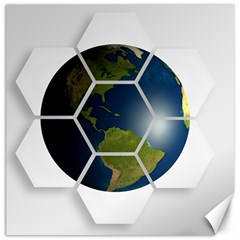 Hexagon Diamond Earth Globe Canvas 20  X 20   by Onesevenart