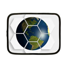 Hexagon Diamond Earth Globe Netbook Case (small)  by Onesevenart