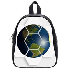 Hexagon Diamond Earth Globe School Bags (small)  by Onesevenart