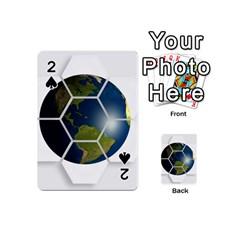 Hexagon Diamond Earth Globe Playing Cards 54 (mini)  by Onesevenart