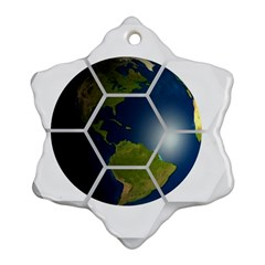 Hexagon Diamond Earth Globe Ornament (snowflake) by Onesevenart