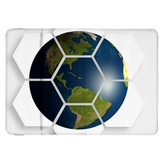 Hexagon Diamond Earth Globe Samsung Galaxy Tab 8 9  P7300 Flip Case by Onesevenart