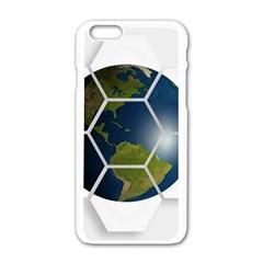 Hexagon Diamond Earth Globe Apple Iphone 6/6s White Enamel Case by Onesevenart