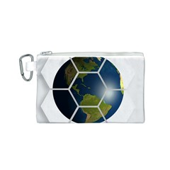 Hexagon Diamond Earth Globe Canvas Cosmetic Bag (s) by Onesevenart