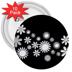 Flower Power Flowers Ornament 3  Buttons (10 pack)