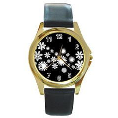 Flower Power Flowers Ornament Round Gold Metal Watch