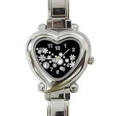 Flower Power Flowers Ornament Heart Italian Charm Watch by Onesevenart