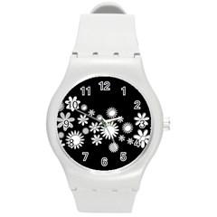 Flower Power Flowers Ornament Round Plastic Sport Watch (m) by Onesevenart