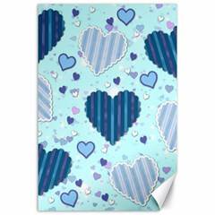 Hearts Pattern Paper Wallpaper Canvas 24  X 36  by Onesevenart
