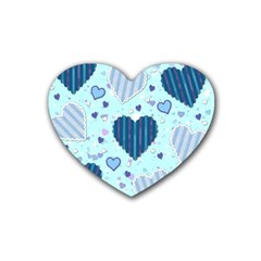 Hearts Pattern Paper Wallpaper Rubber Coaster (heart)  by Onesevenart