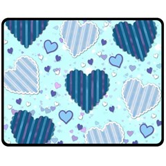 Hearts Pattern Paper Wallpaper Fleece Blanket (medium)  by Onesevenart