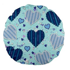Hearts Pattern Paper Wallpaper Large 18  Premium Round Cushions by Onesevenart
