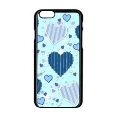 Hearts Pattern Paper Wallpaper Apple Iphone 6/6s Black Enamel Case by Onesevenart