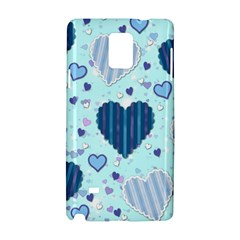 Hearts Pattern Paper Wallpaper Samsung Galaxy Note 4 Hardshell Case by Onesevenart