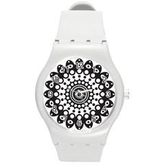Mandala Geometric Symbol Pattern Round Plastic Sport Watch (m) by Onesevenart
