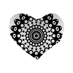 Mandala Geometric Symbol Pattern Standard 16  Premium Flano Heart Shape Cushions by Onesevenart
