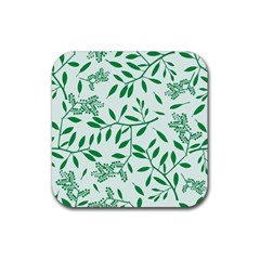 Leaves Foliage Green Wallpaper Rubber Square Coaster (4 Pack)  by Onesevenart