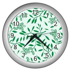 Leaves Foliage Green Wallpaper Wall Clocks (silver)  by Onesevenart