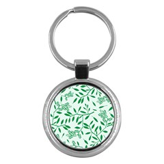 Leaves Foliage Green Wallpaper Key Chains (round)  by Onesevenart