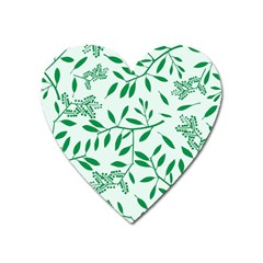 Leaves Foliage Green Wallpaper Heart Magnet by Onesevenart