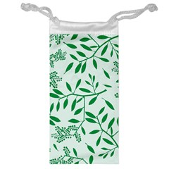 Leaves Foliage Green Wallpaper Jewelry Bag by Onesevenart