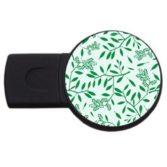 Leaves Foliage Green Wallpaper Usb Flash Drive Round (4 Gb) by Onesevenart