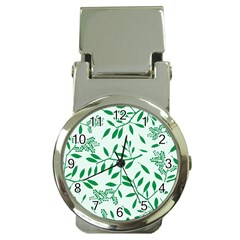 Leaves Foliage Green Wallpaper Money Clip Watches by Onesevenart