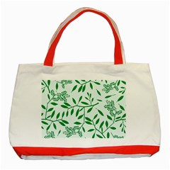 Leaves Foliage Green Wallpaper Classic Tote Bag (red) by Onesevenart