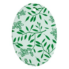 Leaves Foliage Green Wallpaper Oval Ornament (two Sides) by Onesevenart